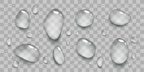 Fototapeta Set of realistic transparent water drops. obraz