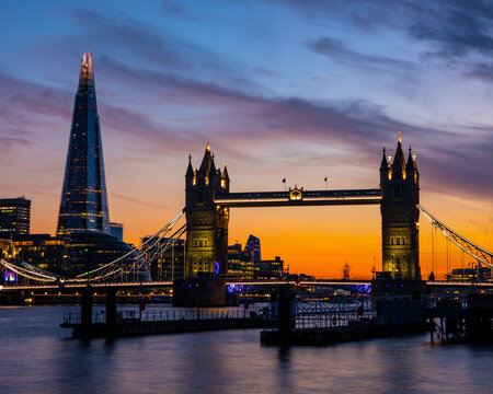 Tower Bridge and the Shard in London, UK