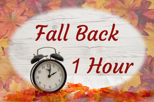 Daylight Savings Fall Back message with alarm clock with fall leaves