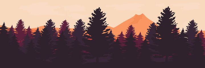 Fototapeta forest landscape vector illustration good for backdrop, wallpaper, background, banner, and design template obraz