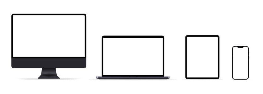 Iphone 13, Mac, ipad. Realistic set of computer, laptop, tablet and smartphone. Media device mockup with transparent screen. Vector illustration