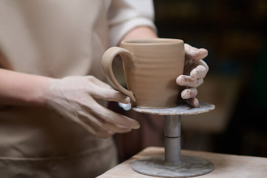 Close up picture of a newly made cup
