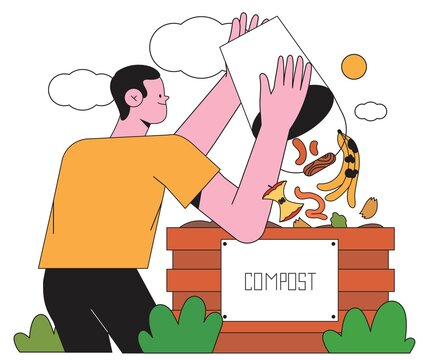 Man or male character make compost pile adding brown and green materials or waste. Person create and maintain compost bin. Organic waste for domestic composting creative concept for banner or website.