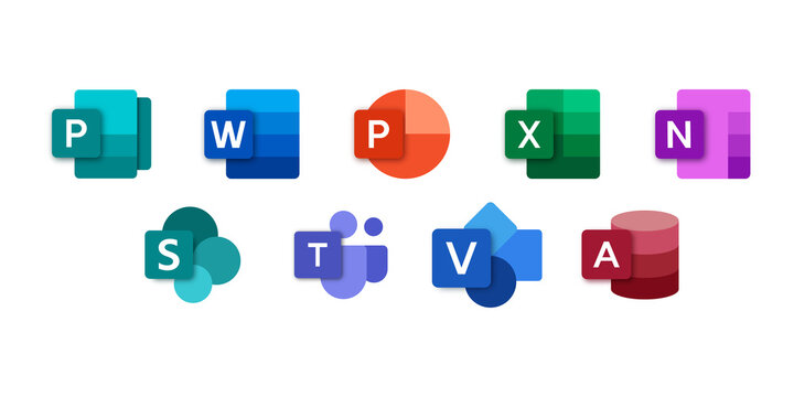 Set icons Microsoft Office 365: Word, Excel, OneNote, Yammer, Sway, PowerPoint, Access, Outlook, Publisher, SharePoint, OneDrive, Skype, Exchange, Teams... Vector illustration on isolated background