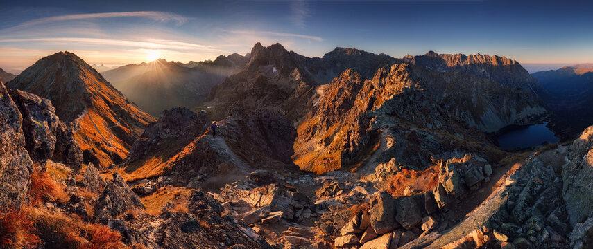 Poland Tatras from peak Szpiglasowy, Nice mountain landscape in Europe at sunrise over Morskie oko