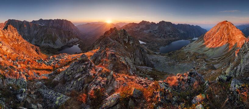 Beautiful sunset mountain panorama from Poland Tatras - Szpiglasowy Wierch