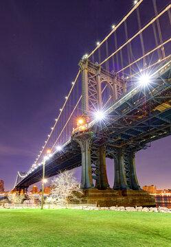 Manhattan Bridge at night, NYC