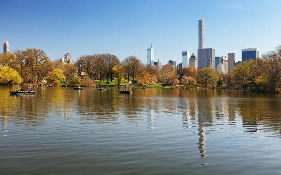 Central park with new york city skyline