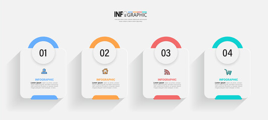 Fototapeta Infographics design template, business concept with 4 steps or options, can be used for workflow layout, diagram, annual report, web design.Creative banner, label vector. obraz