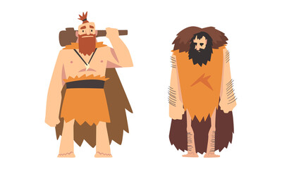 Primitive Man Character from Stone Age Wearing Animal Skin and Holding Bludgeon Vector Set