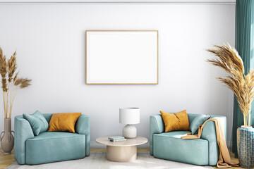 Fototapeta Mockup frame horizontal A4 in farmhouse style ,3d render obraz