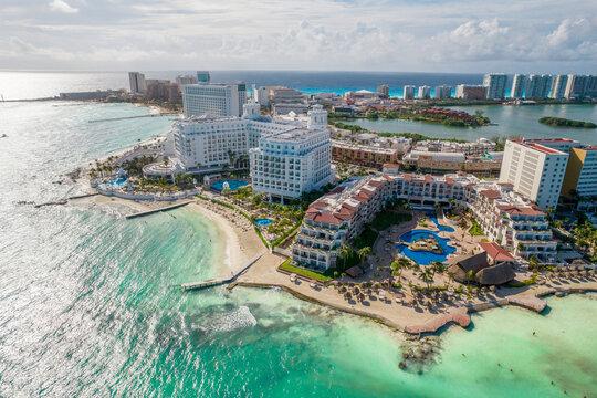 Cancun, Mexico - September 17, 2021: View of beautiful Hotel Fiesta Americana Cancun Villas in the hotel zone of Cancun. Riviera Maya region in Quintana roo on Yucatan Peninsula. Aerial panoramic view