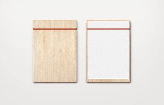 light brown wooden menu band clipboard