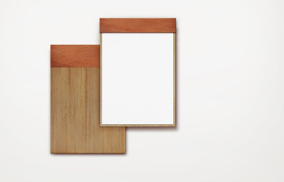 menu render with brown cover