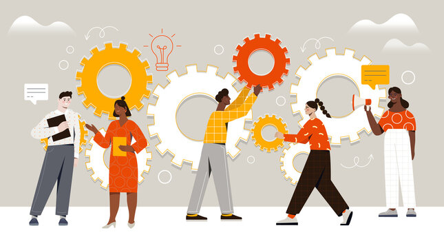 Male and female characters are assembling cogwheels together at work. Concept of work operations and teamwork productivity. Business workflow as cogwheel mechanism. Flat cartoon vector illustration