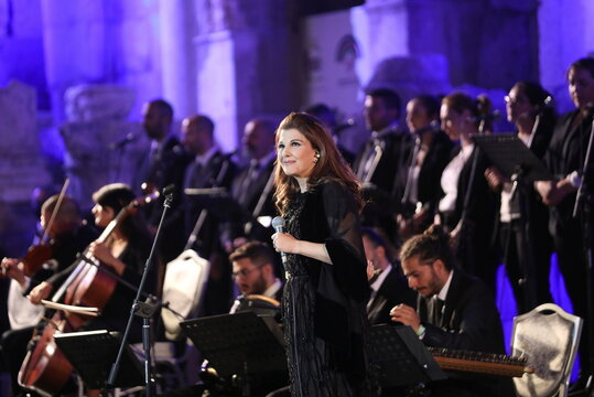 Lebanese singer Majida El Roumi performs during the opening of Jerash Festival of Culture and Arts in Jerash