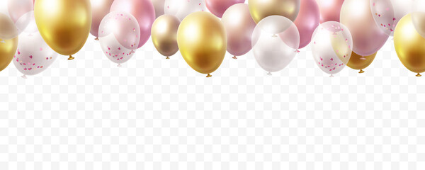 Obraz Balloon seamless border isolated on transparent background. Vector realistic gold, pink, bronze, golden rose, white and silver festive 3d helium balloons for anniversary, birthday party design - fototapety do salonu