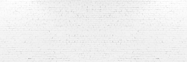 Fototapeta White brick wall may used as background. Horizontal creative poster, greeting cards, headers, website obraz