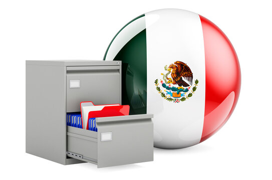 Database in Mexico, concept. Folders in filing cabinet with Mexican flag, 3D rendering