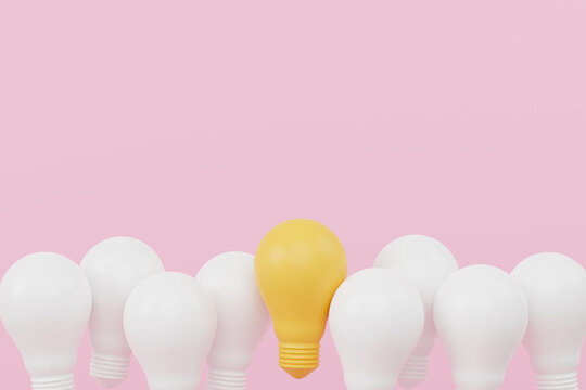 Light bulb yellow outstanding among lightbulb group. Concept of creative idea and innovation, Unique, Think different, Individual and standing out from the crowd. 3d render illustration