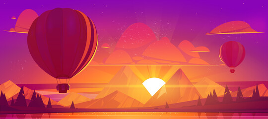 Hot air balloons flying in sunset sky above water pond and mountains in red and orange colored heaven. Dusk scenery landscape view, ballons flight travel, aerial tourism, Cartoon vector illustration