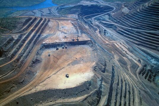 An opan cut diamond mine  in the Kimberley region of  north Western Australia .