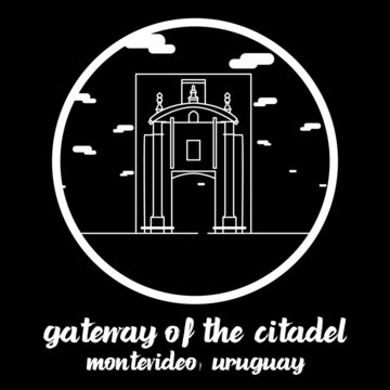 Circle Icon line Gateway of the Citadel. Vector illustration
