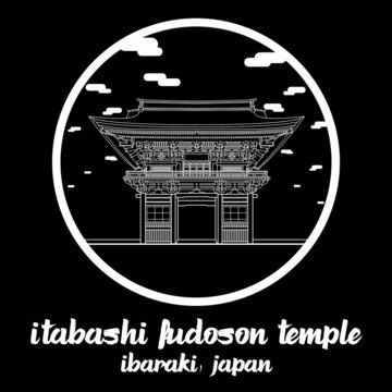 Circle Icon line Itabashi Fudoson Temple. Vector illustration
