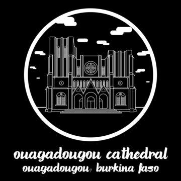 Circle Icon line Ouagadougou Cathedra. Vector illustration