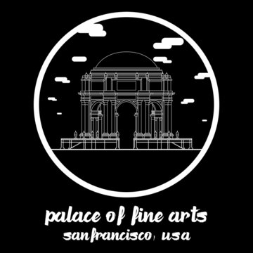 Circle Icon line Palace of fine arts. Vector illustration