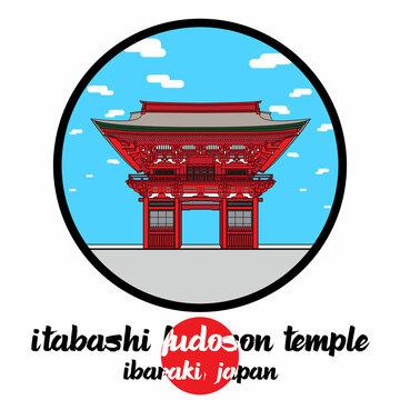 Circle Icon Itabashi Fudoson Temple. Vector illustration