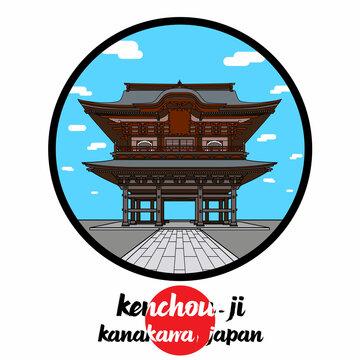 Circle Icon line Kenchou-ji. Vector illustration