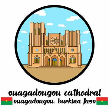 Circle Icon Ouagadougou Cathedra. Vector illustration