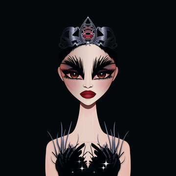 Vector illustration of beautiful dramatic ballerina in black gown with feathers and silver crown diadem. Halloween ballerina character girl.