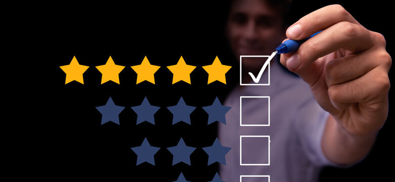 Young man giving 5 stars top rating feedback