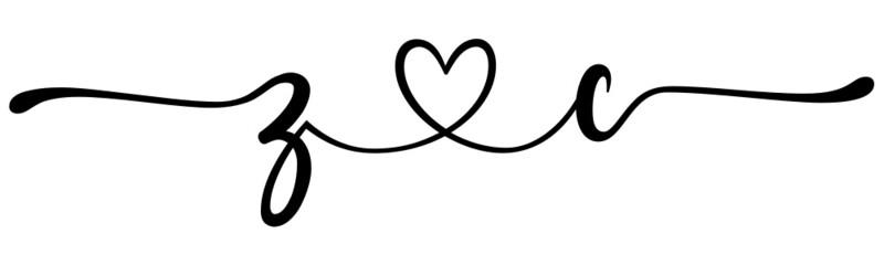 Fototapeta zc, cz, letters with heart Monogram, monogram wedding logo. Love icon, couples Initials, lower case, connecting HEART, home decor, obraz