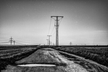 Fototapeta Grayscale shot of a country road and powerlines under a stary sky obraz