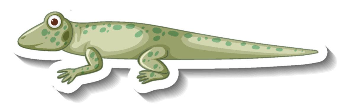 Side view of gecko or lizard cartoon sticker