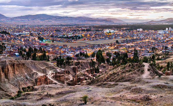 Torre Torre rock formations and skyline of Huancayo in Peru