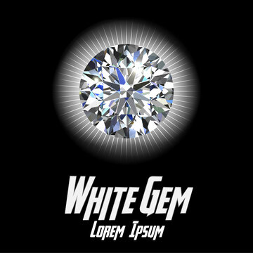 White Gem Color on Color background with flair color. Vector illustration