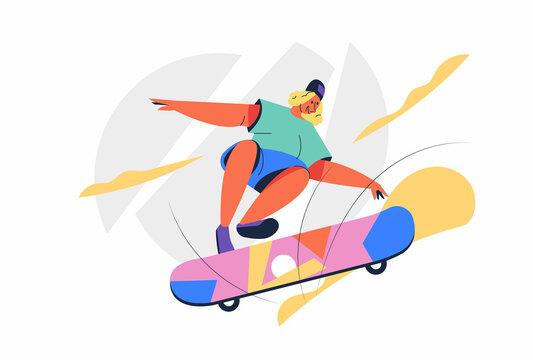 Skateboard athlete man on Summer Olympic Games