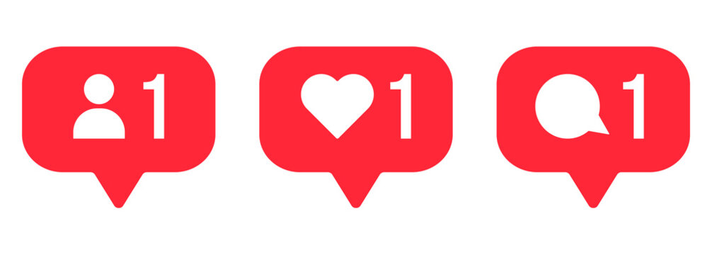 Follower notification icons. Social media comment, like, follow signs. Can use for web and mobile app. Vector illustration