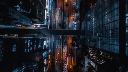 Night city traffic from above, Hong Kong