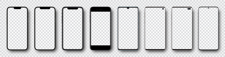 Fototapeta Smartphone mockup collection. Mockup realistic models smartphone with shadow and blank screens for your design. Isolated on transparent background. Vector illustration .ai .eps  obraz