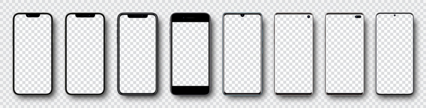 Smartphone mockup collection. Mockup realistic models smartphone with shadow and blank screens for your design. Isolated on transparent background. Vector illustration .ai .eps