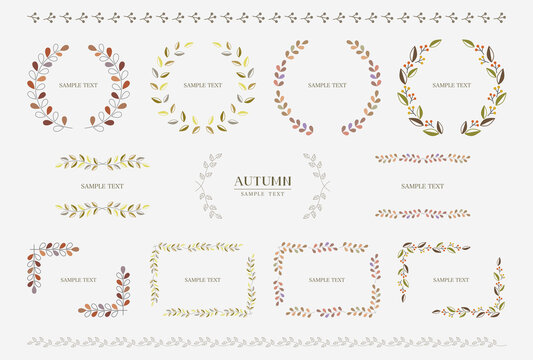 秋の葉 装飾フレーム デザイン / vector eps