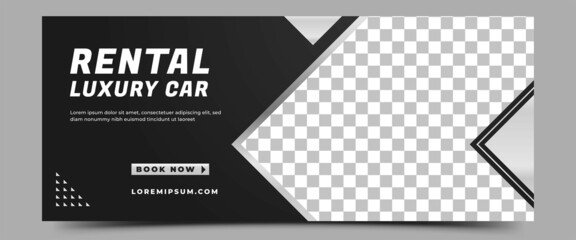 Fototapeta Car rental horizontal banner design template. Modern banner with place for the photo. Usable for banner, cover, header, and background. obraz