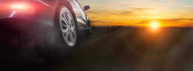 Sport car wheel drifting