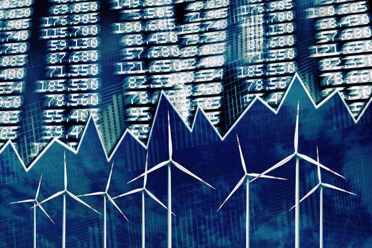 Renewable energy with wind turbines and stock exchange