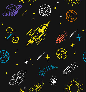 Seamless pattern with rocket doodle. Space sketch cartoon
